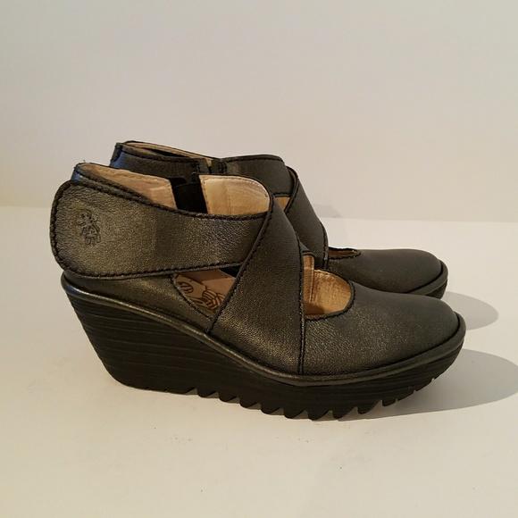 ccbcb98f30b0 Fly London Shoes - Fly London Yogo Metallic Wedge Pumps